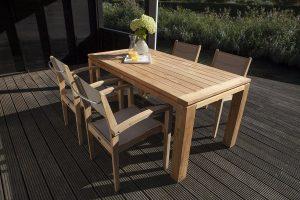 Exotan teak tuinset Caldo stapelstoel taupe Stella tafel 160 cm