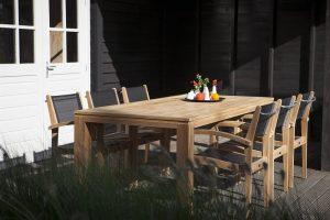 Exotan teak tuinset Caldo stapelstoel black Stella tafel 240 cm
