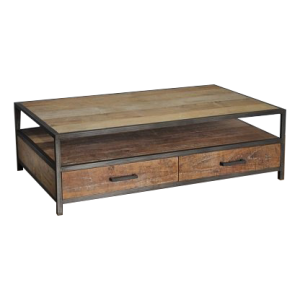 Industrial metal teak coffeetable 130 cm