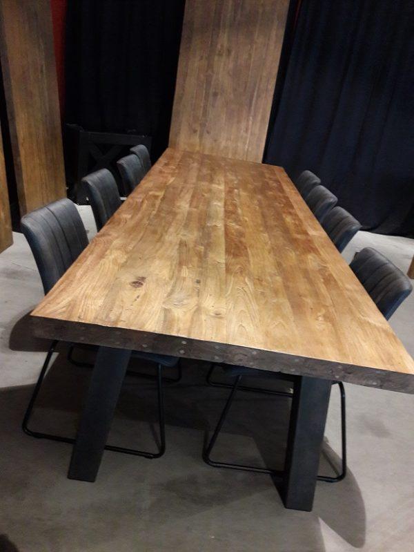 Wondrous Massief Teakhouten Tafel 300 Cm Met Metalen Onderstel Hem Dailytribune Chair Design For Home Dailytribuneorg
