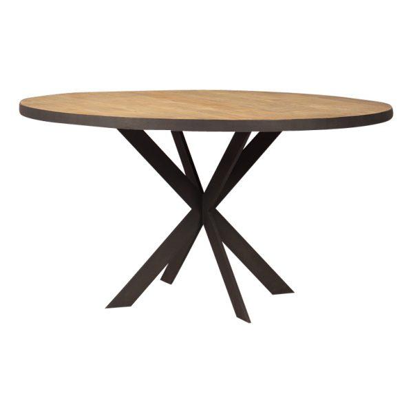 Metal teak ronde tafel Banjar 140 cm