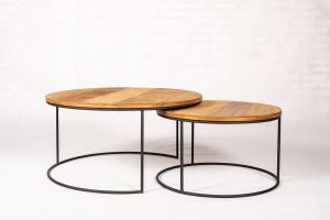 Houston Metal Teak set van 2 ronde Salontafels