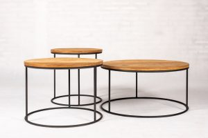 Chicago Metal Teak Set van 3 ronde Salontafels