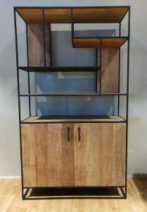 Banjar Boekenkast Metal teak 120cm 2 doors