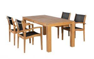 Exotan Teak Tuinset Caldo stapelstoel black Stella Tafel 160